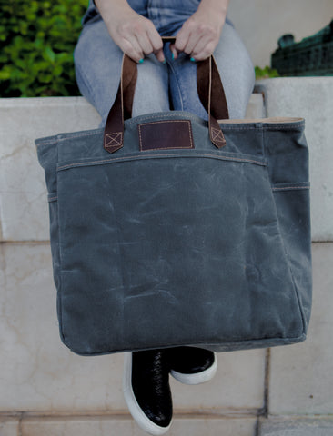Waxed Canvas Market Tote bag - Slate Grey