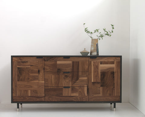 Patchwork Walnut Credenza in Blackened Steel Cabinet