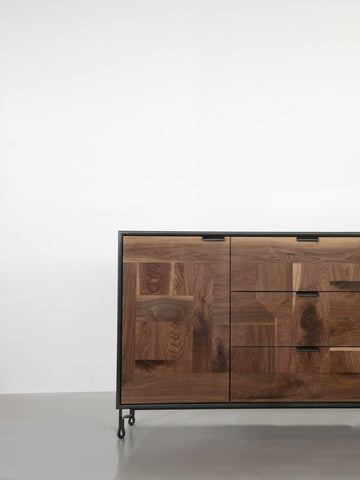 Patchwork Walnut Credenza in Steel Cabinet w/ Fairmont Hairpin Feet