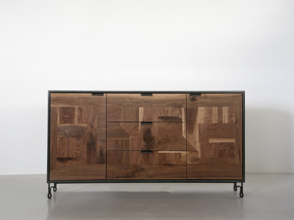 Patchwork Walnut Credenza in Blackened Steel Cabinet w/ Fairmont Hairpin Feet - kith&kin makers  - 1