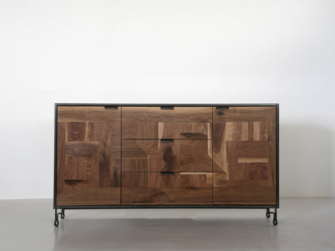 Patchwork Walnut Credenza in Blackened Steel Cabinet w/ Fairmont Hairpin Feet