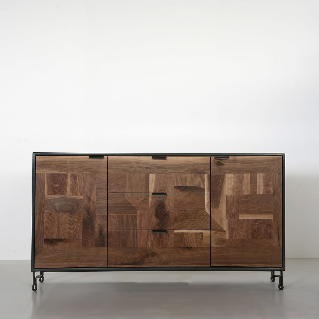 Patchwork Walnut Credenza in Steel Cabinet w/ Fairmont Hairpin Feet - kith&kin makers  - 1