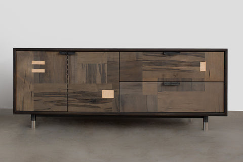 Patchwork Oxidized Maple Credenza in Blackened steel case
