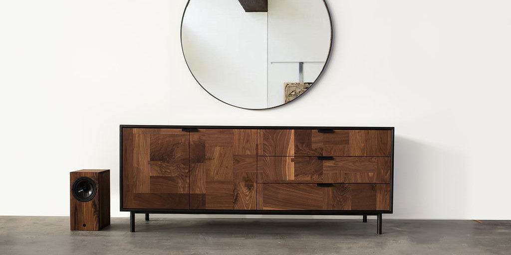 Modern Patchwork Walnut Credenza in Steel Cabinet