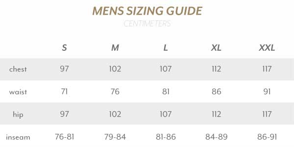 Mens Size Guide Centimetres