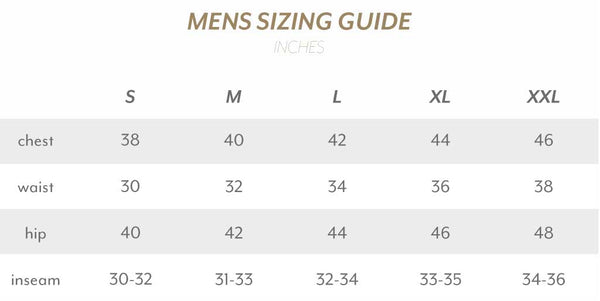 Mens Size Guide Inches