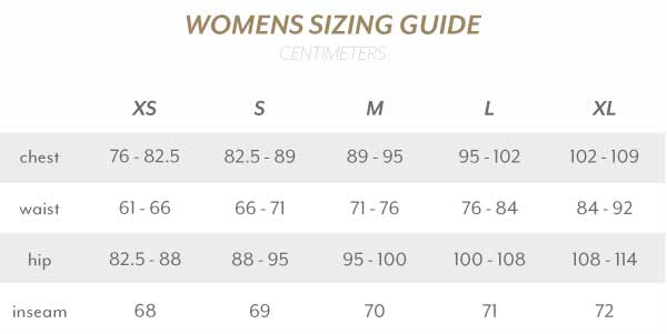 Womens Size Guide Centimetres