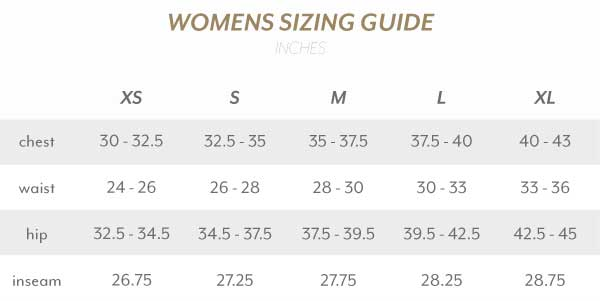 Womens Size Guide Inches