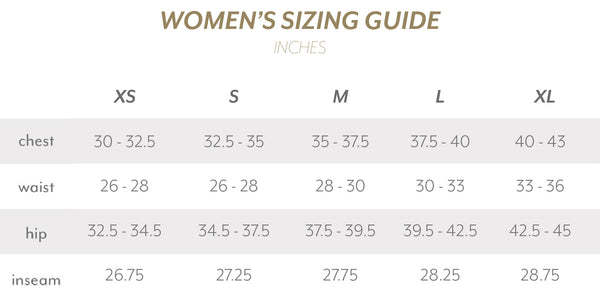 Strongbody Women's size guide