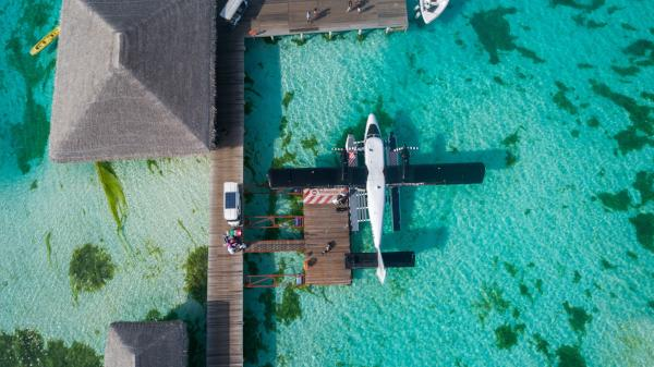A float plane is parked at the dock in tropical waters