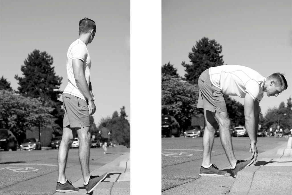 Stretching in the Everything shorts, made in Vancouver.