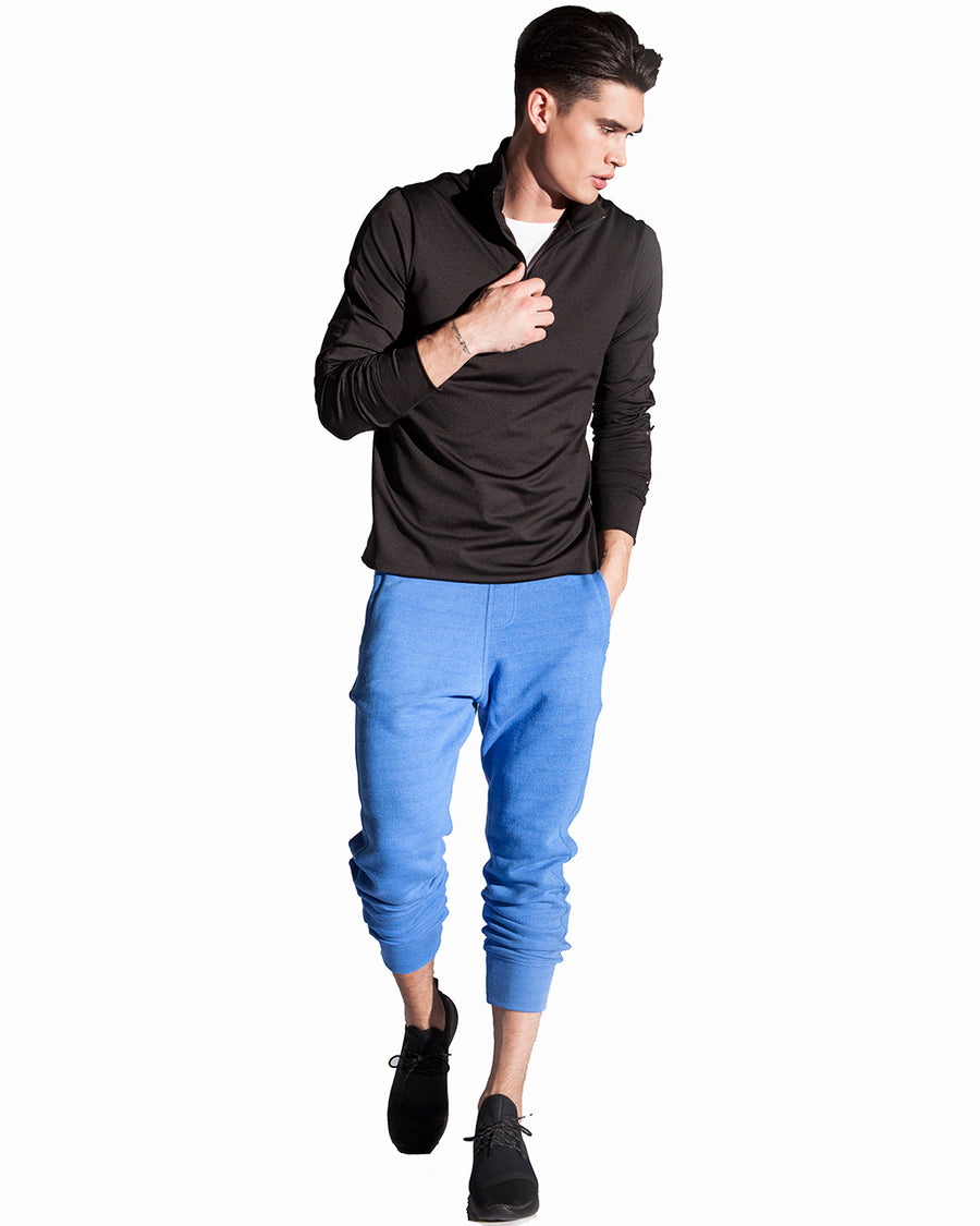 Men's French Blue Joggers crafter from french terry tri blend fabric. These joggers are luxury activewear at it's best.