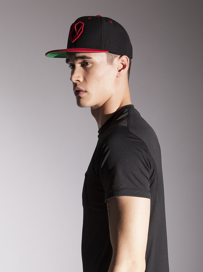 Bonfire Red & Black Snapback Hat - Strongbody Apparel  - 1