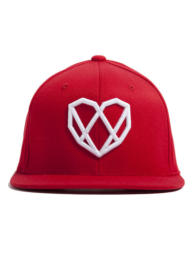 Snapback Hat in Red with White Logo by Strongbody