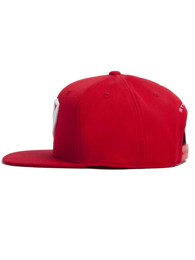 Strongbody Red Snapback Hat with White Logo