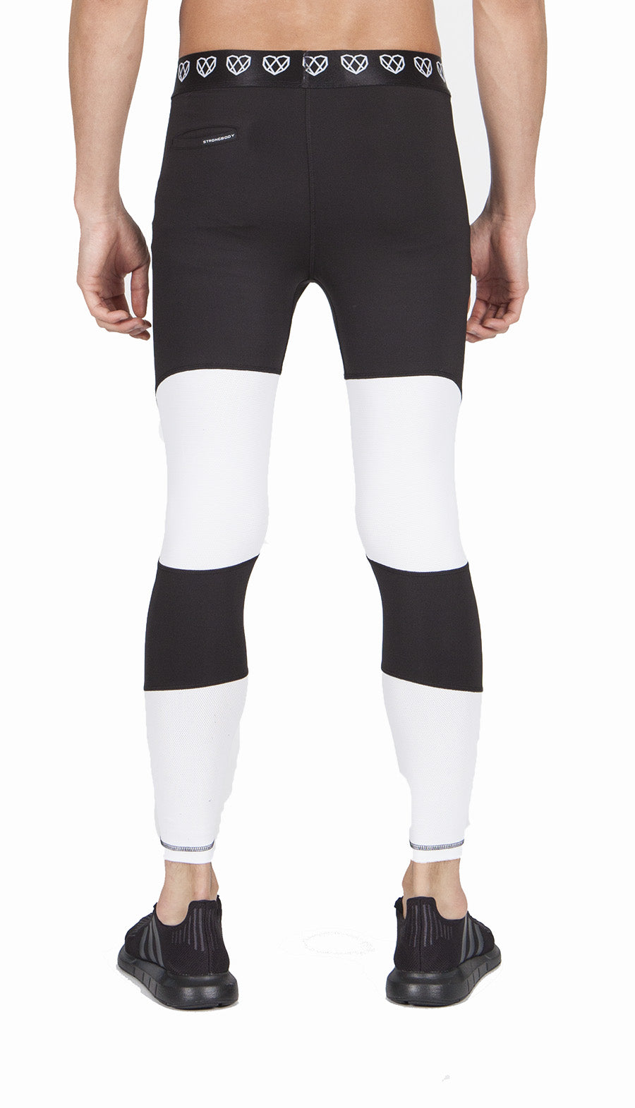 Men's Odor Free Compression Leggings with White Contrast