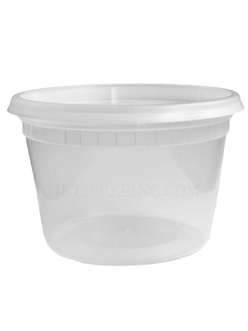 16 oz Pint Clear Plastic Deli Soup Container With Lid