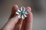 Natural Kingman and Hand-carved Sterling Flower Ring -Size 5.5