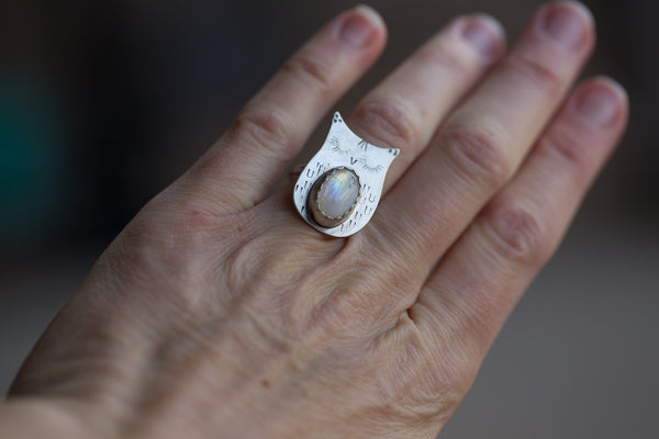 Moonstone Owl Ring - Size 6.5
