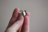 Sterling Cuff Ring - Heart Design - Adjustable Size 7-8