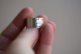 Sterling Cuff Ring - Flower Design - Adjustable Sizes 7-8.5 or 6.5-7.5