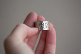 Sterling Cuff Ring - Bee Design - Adjustable Size 6.5-7.5