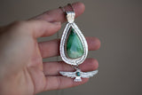Variscite and Carico Lake Feather and Eagle Necklace