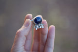 Lapis Lazuli and Flower Ring - Size 7.5
