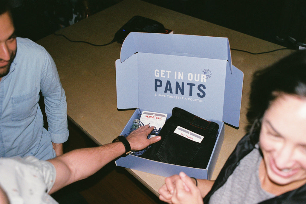 get in our pants marine layer VIP denim pickup party boxes