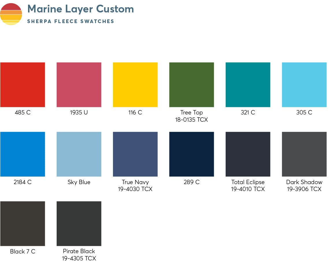 Custom Color Swatches - Sherpa Fleece