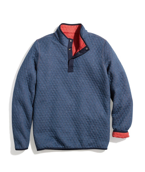 Corbet Reversible Pullover in Red Heather/Navy Heather