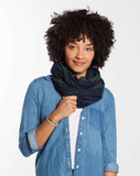 Woven Infinity Scarf - Green Plaid