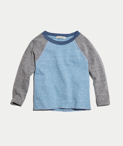 Mini Double Knit Baseball Raglan in Aegean Blue