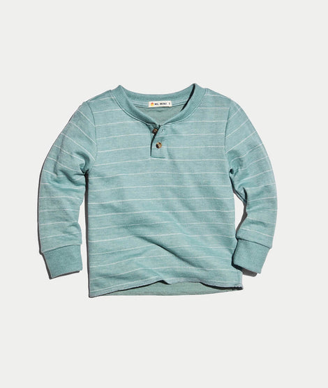 Mini Double Knit Henley in Surf Green