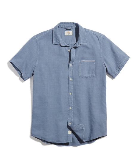 Short Sleeve Selvage Shirt in Dusty Blue