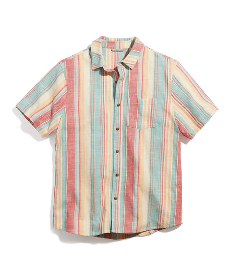 Vertical Stripe Selvage Shirt in Red/Yellow Multi Stripe