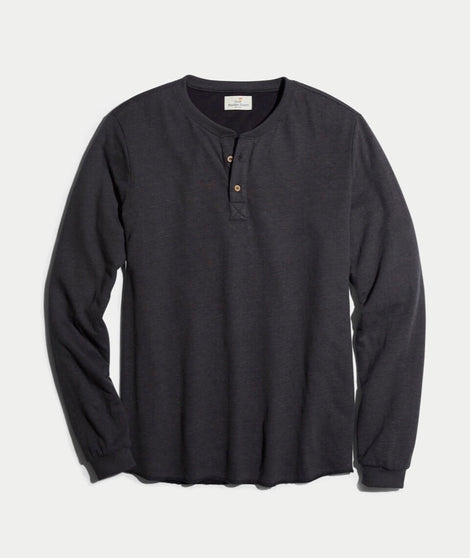 Double Knit Henley in Faded Black