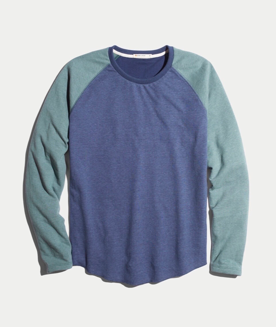 Double Knit Baseball Raglan in Deep Denim/Forest Green
