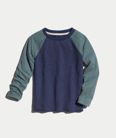 Mini Double Knit Baseball Raglan in Forest Green/Deep Denim