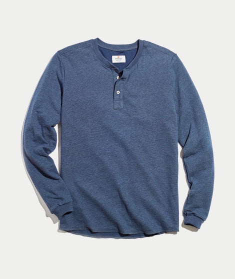 Double Knit Henley in Deep Denim