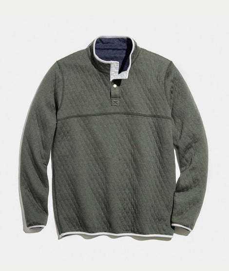 Corbet Reversible Fleece Pullover in Navy / Olive