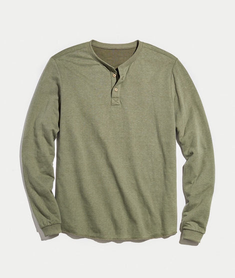 Double Knit Henley in Admiral Green