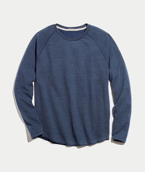 Double Knit Baseball Raglan in Deep Denim