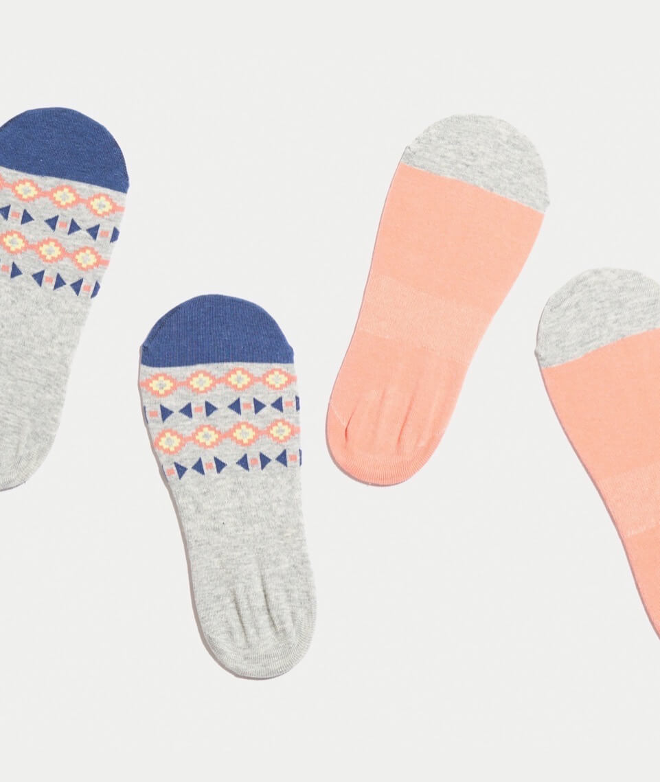 Nellie No Show Socks in Coral (Pack of 2)