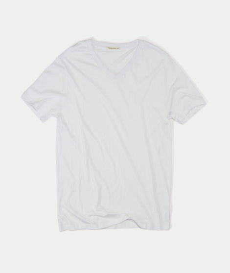 Signature V-neck Tee - Pure White