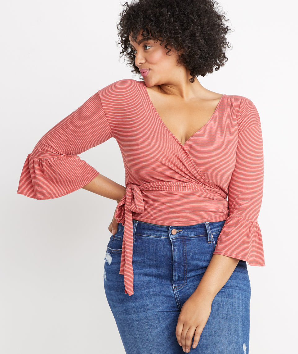 Ava Wrap Top in Red Ochre Stripe