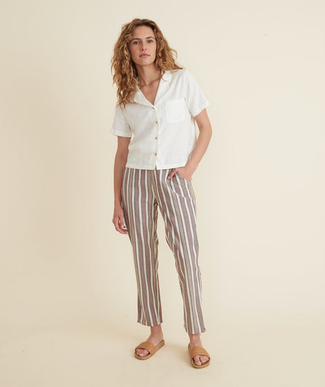 Allison Trouser in Navy/Orange/White Stripe
