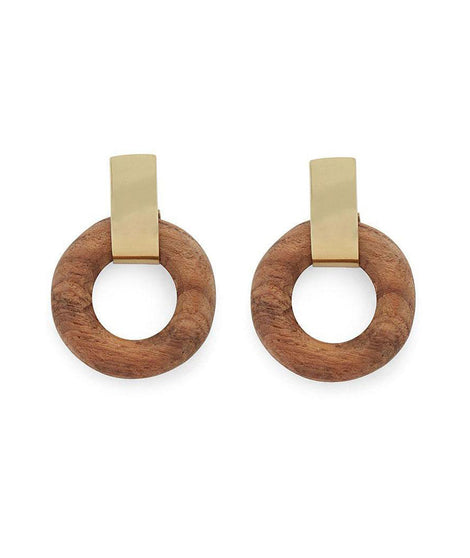 Soko Arlie Circle Studs in Brass/Wood