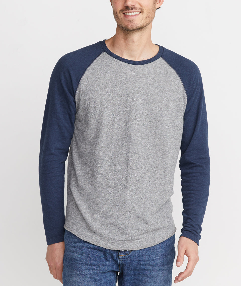Double Knit Baseball Raglan in Heather Grey/Navy