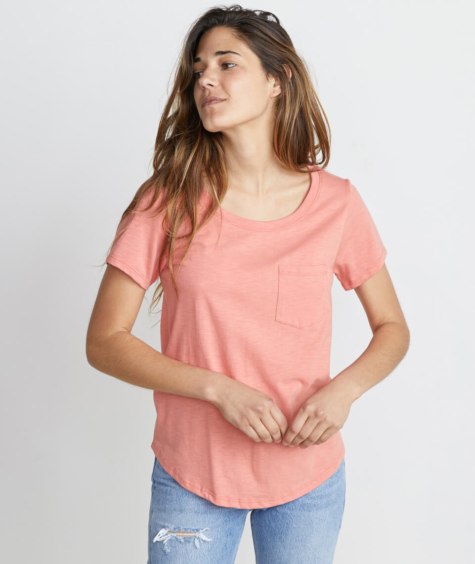 Boyfriend Pocket Tee in Coral